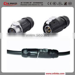 IP67 Waterproof Wire to Wire Power Connector, 2 PIN Plastic Circular Connector