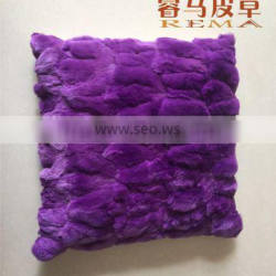 Purple RABBIT FUR PILLOW
