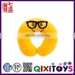 High quality cute soft plush emoji neck pillow custom made personalized travel neck pillow U shape