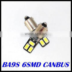 BA9S CANBUS 6SMD 5630 5730 LED car Interior Bulbs Wedge Lamp Car Indicators Light