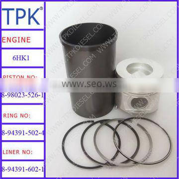 Isuzu 6HK1 liner kits, piston kit 8-98023-526-1, ring set 8-94391-502-4, cylinder liner 8-94391-602-1