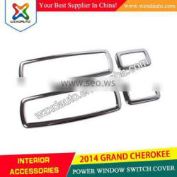 GRAND CHEROKEE 2014 POWER WINDOW SWITCH COVER 14 JEEP ACCESSORIES ABS CHROME 4PCS PER SET