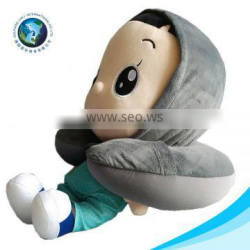 Wholesale fashion u shaped pillow with hat promotion funny soft plush travel custom neck pillow