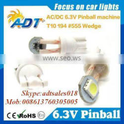 2016 Hot sale T10 194 #555 White Super Bright pinball led bulbs