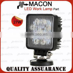heavy equipment 27W led flood work light Driving On Truck,Jeep, Atv,4WD,Boat,Mining LED driving light