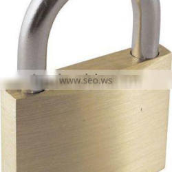 Stainless steel shackle brass padlock with keys