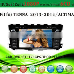 red power car dvd fit for Nissan Tenna 2013 2014 with radio bluetooth gps tv pip dual zone