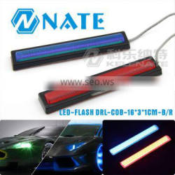 Newest product car led flash drl cob 16*3*1cm b/r flash light