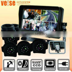 7 inch LCD monitor quad camera system for school bus
