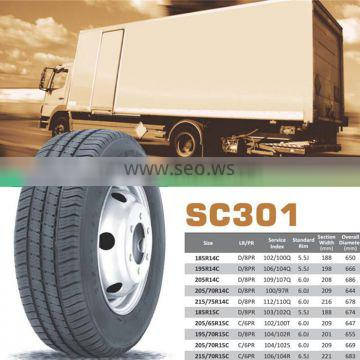 chinese tyres brands 185R15C pattern sc301