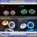 7'' 40w 24v cars motorcycle c-ree led daytime running lights with angel eyes for offroad j-eep h-arley