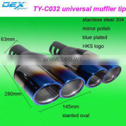 car parts universal blue plated slanted oval exhaust tip