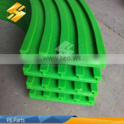 2014 hot sale colored plastic UHMWPE rail guide HDPE parts PE product uhmw polyethylene sheet parts supplier