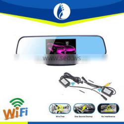 Dual camera 4.3 inch screen rearview mirror car dvr dash cam with wireless Car Rear View Backup Parking Mirror camera