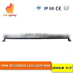super bright 4x4 car accessories 180w 4d curved led light bar for offroad, trucks, suv, atv