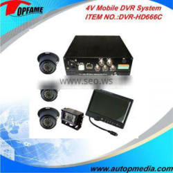 DVR-HD666C car mobile dvr system 4ch mobile dvr with monitor/camera suitable for various vehicles
