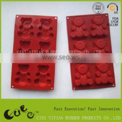 6 cups 3D bear shape silicone kitchenware mould