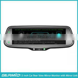 7.3 inch mirror link rear view mirror monitor by wifi connecting