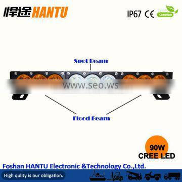 "New product Amber white color 16.5"" 90w rally led light bar/ head light"