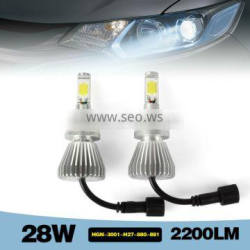 shenzhen manufacture led car headlight 28W 2200LM H27 880 881with aluminum alloy