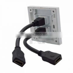Dual ports HDMI Wall Plate with backside short cable