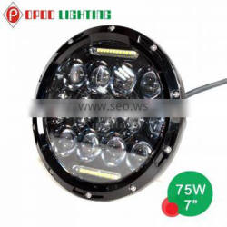 High power 75w 7 inch round led headlight hi and low beam for Jeep Quality Choice