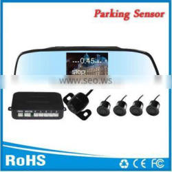 Rear view mirror parking assistant sensor 4.3inch tft color lcd two way vedio input and 4 rear sensors and mini reverse camera