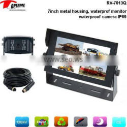 RV-7013Q waterproof backup camera system with QUAD lcd monitor, sharp HD waterproof camera