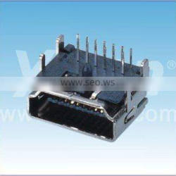 Chinese supplier 19F DIP right angle with brass case HDMI connector