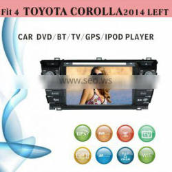 touch screen car dvd player fit for Toyota Corolla left hand drive 2014 with radio bluetooth gps tv