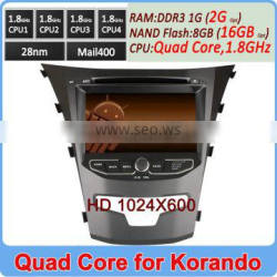 Ownice Pure Android 4.4.2 Quad Core 1.8GHz CPU car dvd playr for ssangyong korando 2014 HD 1024*600 +16GB Flash