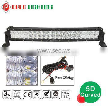 Waterproof 5D reflectors offroad 20inch curved light led bar