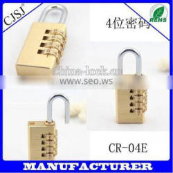 hot sale 3 code combination brass pad lock for luggage