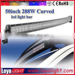 "Good waterproof IP67 aluminum housing 50"" led light bar 4x4 288W curved led light bar"