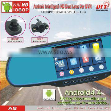 HD dual lens car recorder fhd 1080p car camera dvr video recorder,rearview mirror vehicle traveling data recorder,A8
