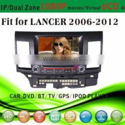 dvd car audio navigation system fit for Mitsubishi Lancer 2006 - 2012 with radio bluetooth gps tv pip dual zone