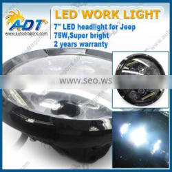 7 inch 75W LED work light Offroad led driving work light led headlight for Jeep SUV ATV