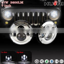 Affordable J eep auto 4x4 accessories, 7 Inch Car LED Projector Headlight DOT Approved Round Head Light with Halo ring for JK
