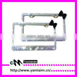 Bling Real Crystal Rhinestone Bow Tie License Plate Frame