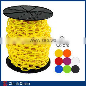 Yellow PE warning plastic coated chain plastic chain