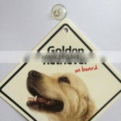 Factory Directly Selling Promotional Golden Retriver On Board Car Signs