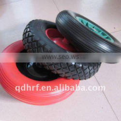 4.00-8/400-8 colourful flat free wheels ,PU foam tubeless for wheel barrow Quality Choice
