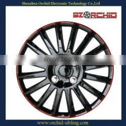 silver 16 inch abs black and red wheel cover