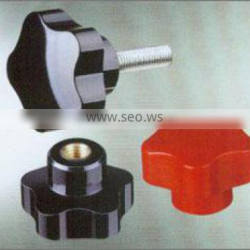 Five-arm knobs with threaded stud, steel zinc plated