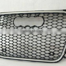 Car front grille Black mesh silver frame chromed rings FOR AUDI A1 RS1 Grille 2013