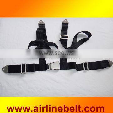 Full stainless steel airplane aircraft buckle 4 point seat safety belt