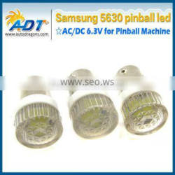 6.3 Volt BA9S #44 #47 cool white pinball LED with lens