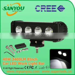 Sanyou 40W 3400lm 6000K LED Auto Light Bar, 8inch spot beam light bar for offroad, Jeep, SUV