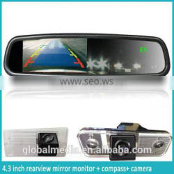 Car Auto dimming rearview mirror with 4.3inch LCD monitor/rear camera display/OEM bracket