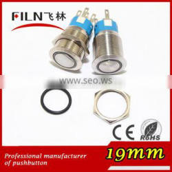 19mm stainless steel Flat Actuator electrical pushbutton switch with 3vdc ring Orange LED